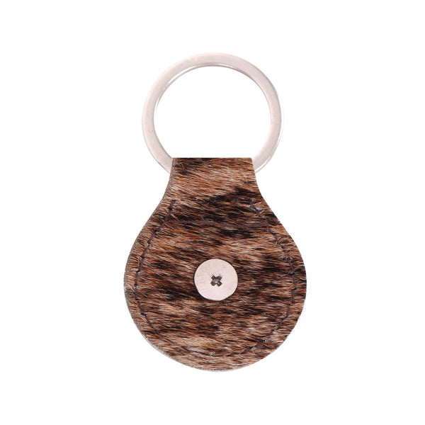 RYS-229A  Montana West Real Leather Hair-On Cowhide Buffalo Concho Key Fob/Key Chain  1Pcs - Montana West World