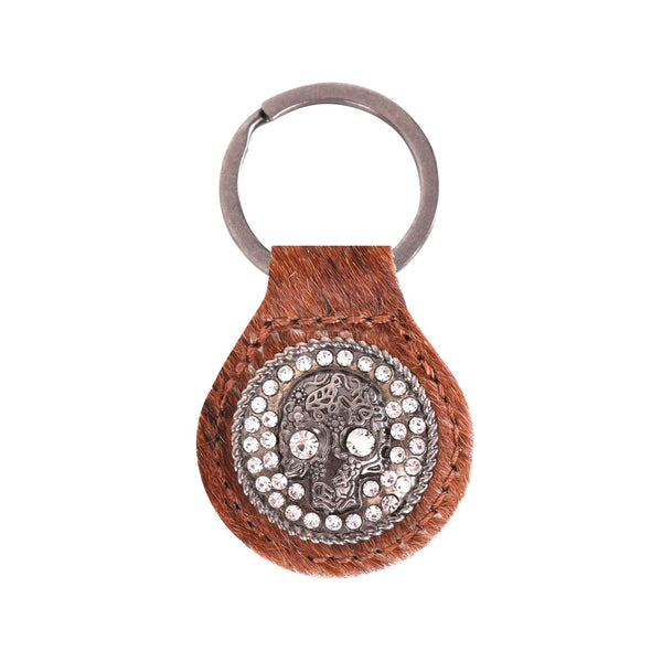 RYS-230A  Montana West Real Leather Hair-On Cowhide Bling Skull Concho Key Fob/Key Chain  1Pcs - Montana West World