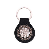 RYS-240  Montana West Real Leather Silver Rhinestones Concho Key Fob/Key Chain  1Pcs - Montana West World