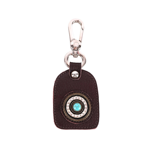 RYS-242A  Montana West Real Leather Turquoise Stone Concho Key Chain 1Pcs - Montana West World