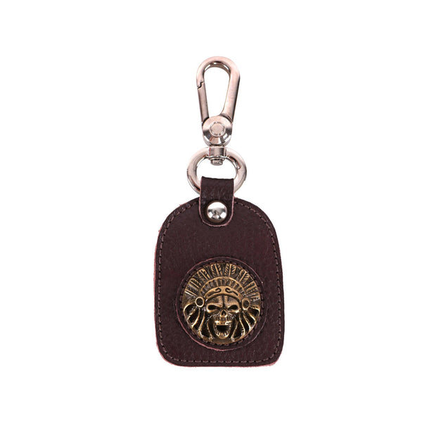 RYS-246  Montana West Real Leather Indian Chief Skull Concho Key Chain 1Pcs - Montana West World