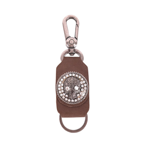 RYS-267  Montana West Real Leather Bling Skull Concho Key Chain 1Pcs