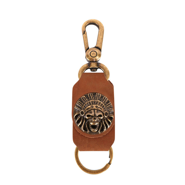 RYS-271  Montana West Real Leather Indian Chief Skull Concho Key Chain 1Pcs - Montana West World