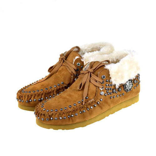 SBT-015  Montana West Western Style Studded Design Moccasins - Montana West World