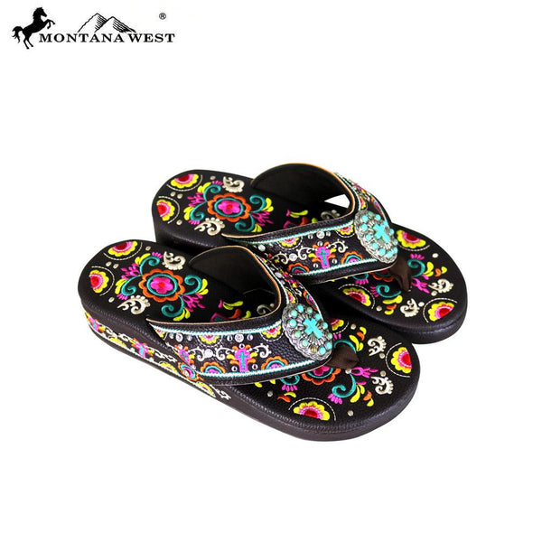 SF02-S098 Montana West Fun Novelty Embroidered Collection Flip Flops - Montana West World