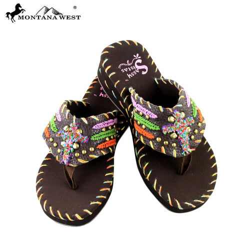 SS-S001 Embroidered Collection Flip Flops By Size