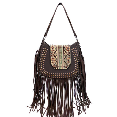 Cudweed Embroidered Concealed Carry Hobo Bag