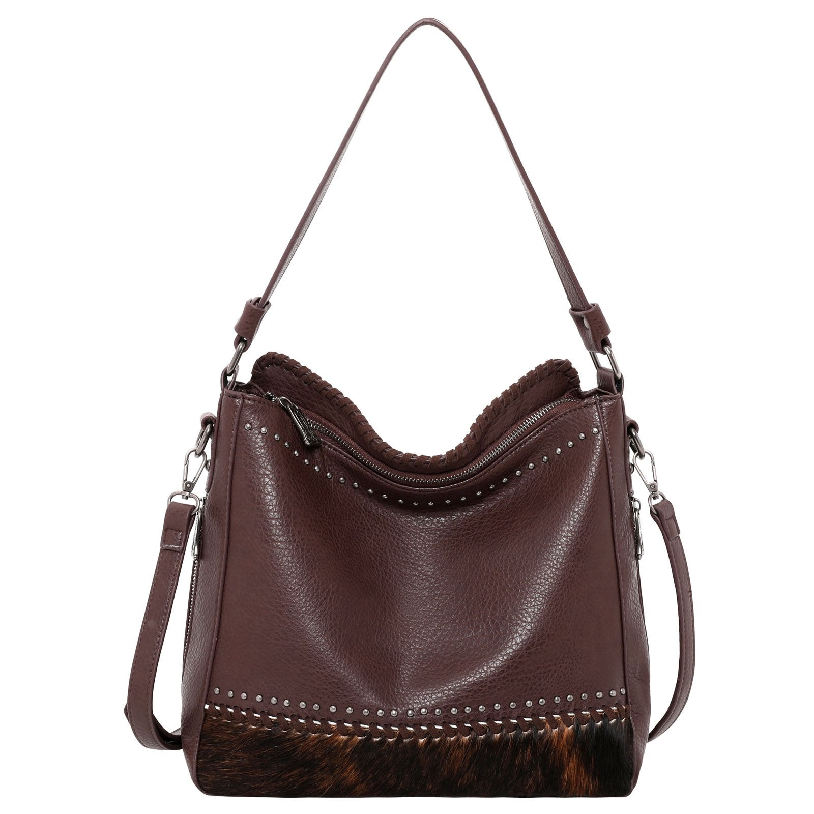 Trinity Ranch Hair-On Leather Collection Dual Sided Concealed Carry Hobo/Crossbody Bag