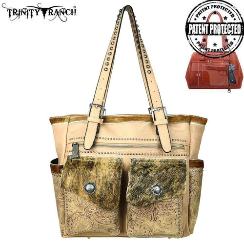 TR45G-8220 Trinity Ranch Tooled Hair-On Leather Collection Concealed Handgun Wide Tote - Montana West World