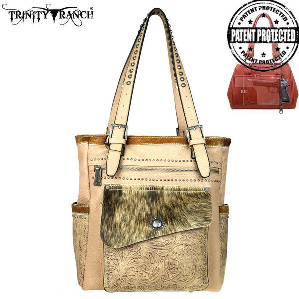 TR45G-8281 Trinity Ranch Tooled Hair-On Leather Collection Concealed Handgun Tote