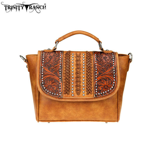 TR70-8262 Trinity Ranch Tooled Leather Collection Satchel/Crossbody - Montana West World