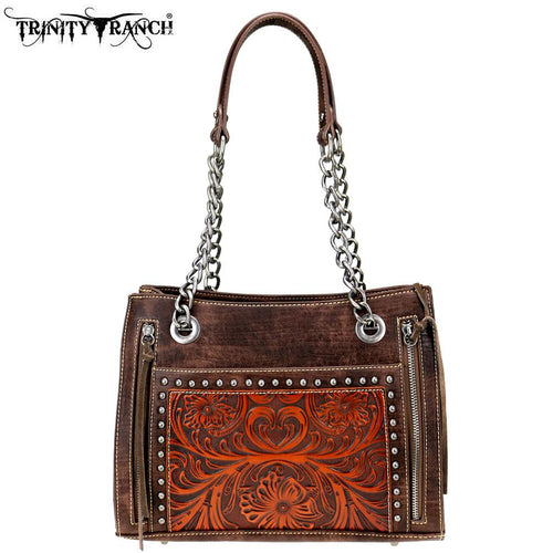 TR72-8080 Trinity Ranch Tooled Leather Collection Satchel - Montana West World