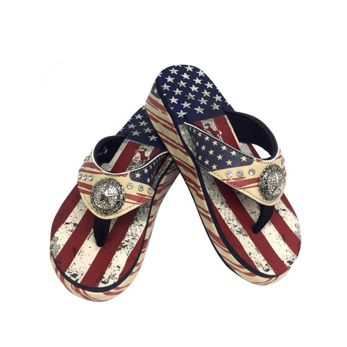 US05-S089 Montana West American Pride Collection Pride Flip Flops By Size