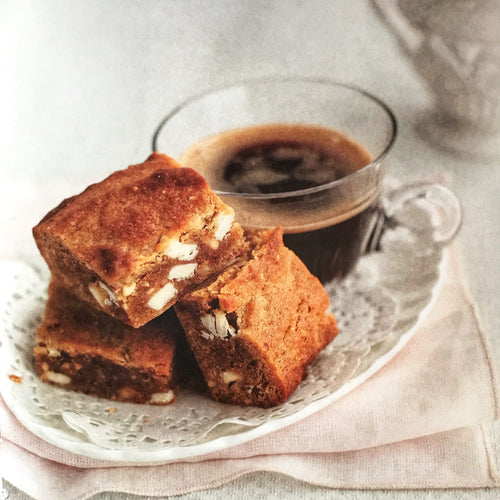 Gluten, Wheat and Dairy Free Peanut Butter + White Chocolate Blondies