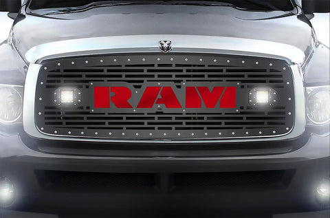 Dodge Ram Steel Grille ('02-'05) Red RAM Logo with LED Light Pods - RacerX Customs