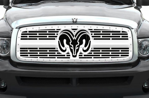 Dodge Ram Polished Stainless Steel Grille ('02-'05) RAM HEAD v2 - RacerX Customs