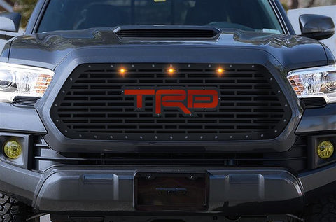 Toyota Tacoma Steel Grille ('16-'17) Red TRD Logo with LED Lights - RacerX Customs