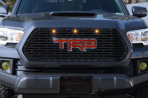 Toyota Tacoma Grille ('16-'17) Red & Silver TRD Logo with LED Lights - RacerX Customs