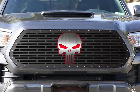 Toyota Tacoma Steel Grille ('16-'17) Silver & Red PUNISHER - RacerX Customs