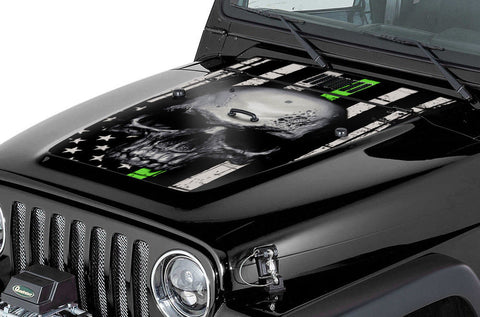 jeep wrangler hood graphics (1999-2006) thin green line skull