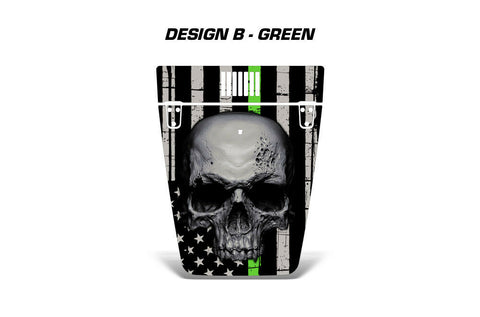 Jeep Wrangler Hood Graphics (1999-2006) THIN GREEN LINE SKULL - RacerX Customs
