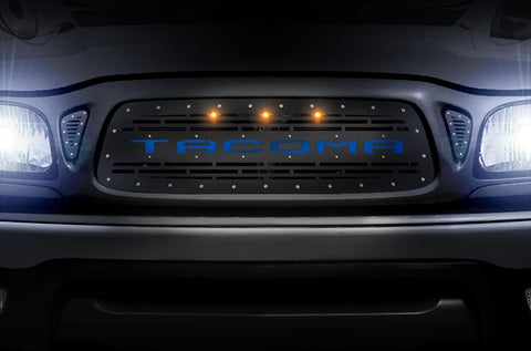 Toyota Tacoma Grille ('01-'04) Blue TACOMA with LED Lights - RacerX Customs