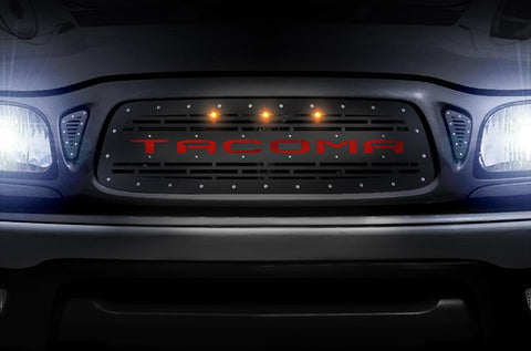 Toyota Tacoma Grille ('01-'04) Red TACOMA w/ LED Lights - RacerX Customs