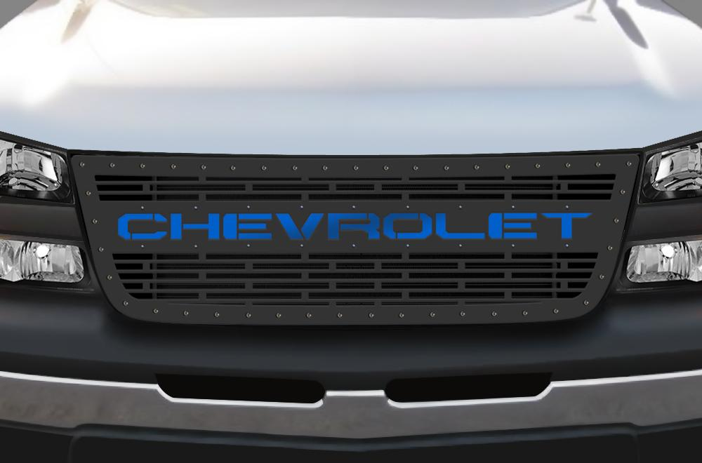 blue chevy silverado steel grill 03 07 racerx customs Silverado Grill Wallpaper chevy silverado stainless steel grill 03 07 blue chevrolet