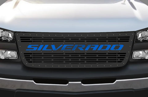 Chevy 1500/2500 Stainless Steel Grille ('03-'07) Blue SILVERADO - RacerX Customs