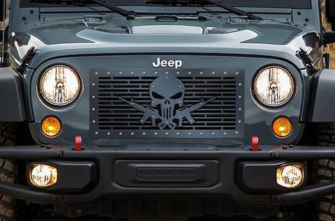 Jeep Wrangler Grille ('07-'16) Black Steel - AR-15 PUNISHER - RacerX Customs | Truck Graphics, Grilles and Accessories
