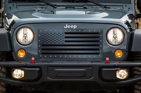 Jeep Wrangler Grille ('07-'16) Black Steel - STARS & STRIPES - RacerX Customs