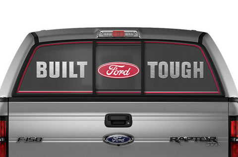 Ford F150 Rear Window Decal Graphics (2009-2014) BUILT FORD TOUGH Red - RacerX Customs