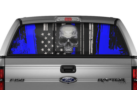 Ford F150 Rear Window Decal Graphics (2009-2014) SKULL Blue - RacerX Customs