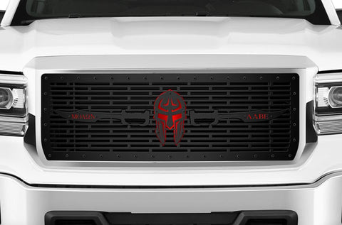 GMC Denali Steel Grille ('14-'15) Black with Red SPARTA - RacerX Customs