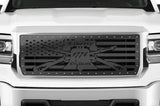 GMC Sierra Grille ('14-'15) Black Steel with LIBERTY OR DEATH - RacerX Customs