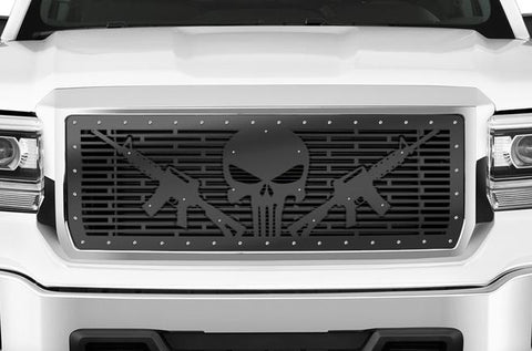 GMC Sierra Grille ('14-'15) Black Steel - AR-15 PUNISHER - RacerX Customs