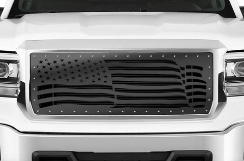 GMC Sierra Grille ('14-'15) Black Steel - AMERICAN FLAG - RacerX Customs | Truck Graphics, Grilles and Accessories