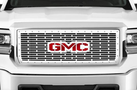 GMC Sierra Grille ('14-'15) Black Steel with Red & Silver GMC - RacerX Customs | Truck Graphics, Grilles and Accessories