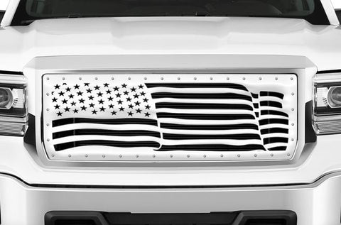 GMC Denali Stainless Steel Grille ('14-'15) AMERICAN FLAG - RacerX Customs