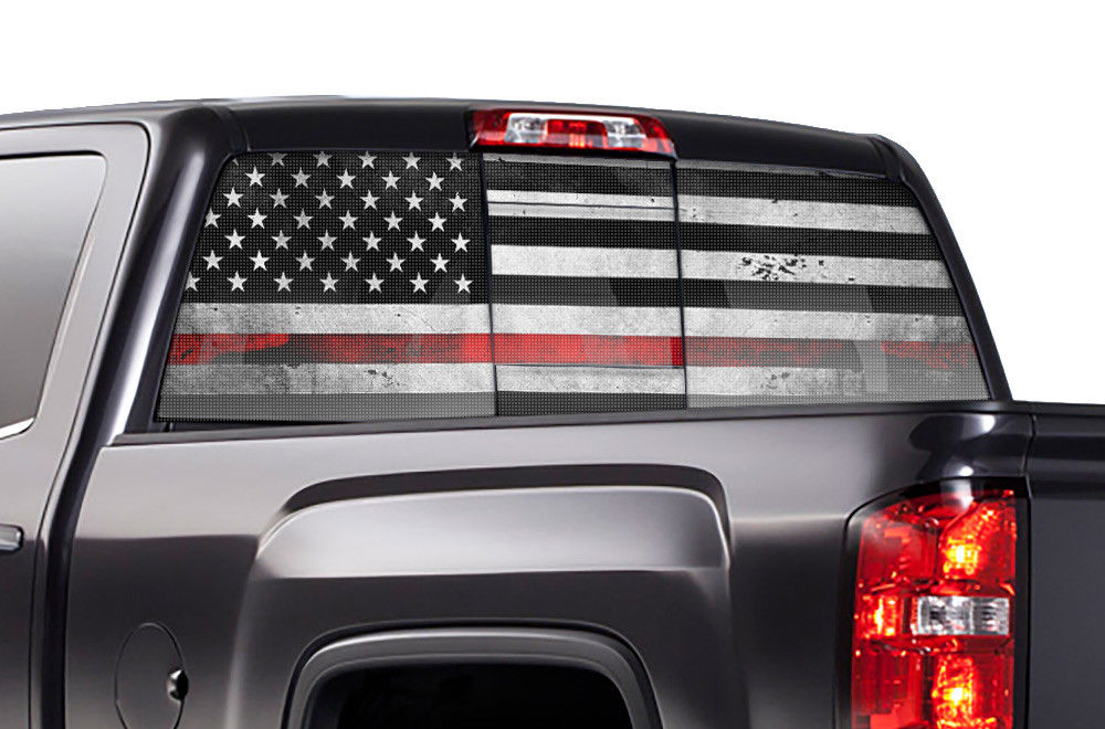 Truck Back Window Decals >> Chevy Silverado Rear Window Decal Graphics 2014 2017 Thin Red Line