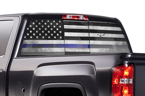 GMC Sierra Rear Window Decal Graphics (2014-2017) THIN BLUE LINE - RacerX Customs