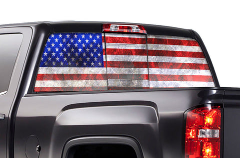 GMC Sierra Rear Window Decal Graphics (2014-2017) AMERICAN FLAG - RacerX Customs
