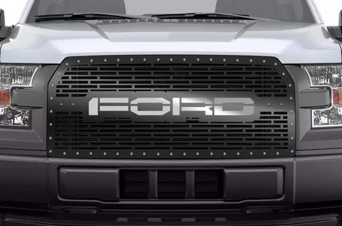 Ford F150 Grille ('15-'17) Stainless Steel FORD Logo - RacerX Customs | Truck Graphics, Grilles and Accessories