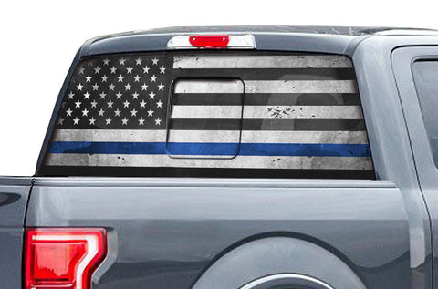 Ford Raptor Rear Window Decal Graphics (2015-2018) THIN BLUE LINE - RacerX Customs