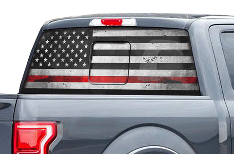 Ford Raptor Rear Window Decal Graphics (2015-2018) THIN RED LINE - RacerX Customs