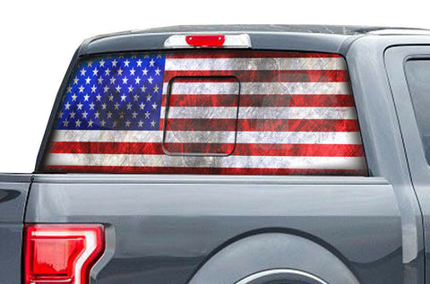 Ford Raptor Rear Window Decal Graphics (2015-2018) AMERICAN FLAG - RacerX Customs