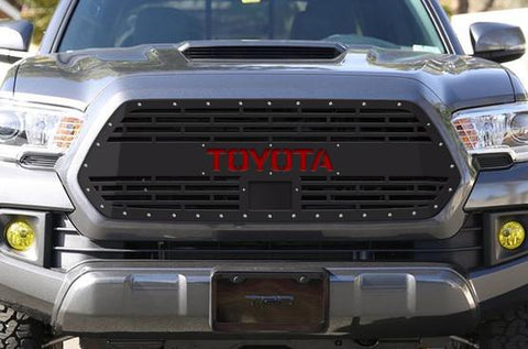 Toyota Tacoma Steel Grille with Red TOYOTA v2 (2018-2019) - RacerX Customs
