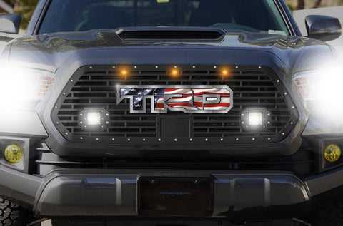 Toyota Tacoma Grille w/ Spot, Flood, LED Pods, Raptor Lights & Stainless Steel USA-TRD (2018-2019) - RacerX Customs