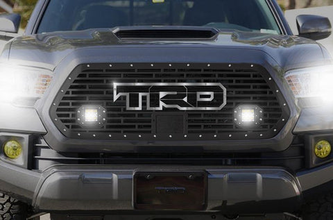 Toyota Tacoma Grille w/ Spot, Flood LED Pods, Stainless Steel Outlined TRD (2018-2019) - RacerX Customs
