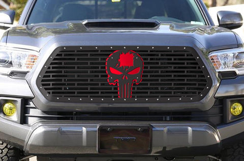 Toyota Tacoma Steel Grille - PUNISHER with RED Accents (2018-2019) - RacerX Customs